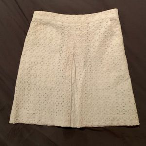 Club Monaco white eyelet A-line skirt